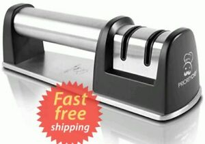 Knife Sharpener For Straight And Serrated Knives, 2-Stage Diamond Coated Wheel