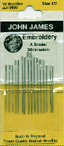 Colonial Needle John James Embroidery Hand Needles Size 3 9 16 Pkg JJ135 39 $6.25