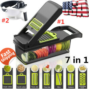 7In1 Food Peeler Slicer Chopper & Dicer With Stainless Steel Blades Container US