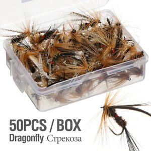 50pcs Fishing Lure Butter fly Insects Salmon Flies Trout Single Dry Fly Fishing