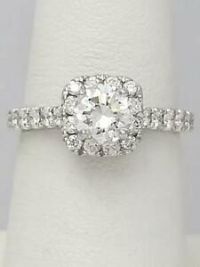 1.52 CT. T.W. ROUND DIAMOND HALO DESIGNER ENGAGEMENT RING 18k WHITE GOLD