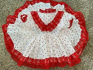Vintage Baby Girl Red Hearts & Lace Ruffle Valentine's Full Circle Skirt Dress
