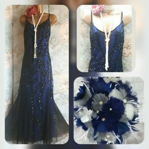 Kaleidoscope blue black lace bead sequin 20s gatsby evening party jazz dress 20