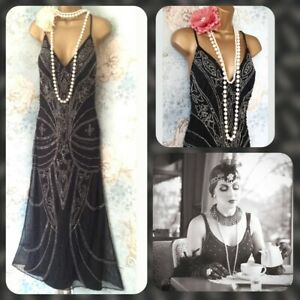 black bead vtg lace kaleidoscope Deco gatsby 20s party evening flapper dress 10