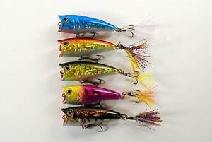 Pack of 5 Akuna Top Dog 2.4quot; Topwater Popper Bass Trout Fishing Lures