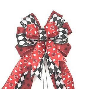 Valentine's Day Bow, Wreath Bow, Red Satin, Hearts, Harlequin