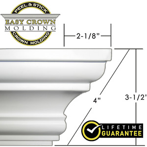 Easy Crown Molding 4quot; Peel amp; Stick 16#x27; Kit 4 inside corners. No Tools needed $34.99