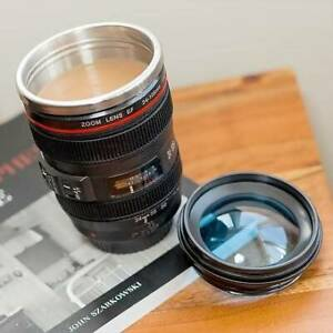 Home Camera Lens Cup 400ml Coffee Tea Travel Mug Stainless Steel Thermos Black