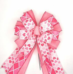 Valentine's Day Bow, Pink Hearts, Harlequin, Pink Stripes