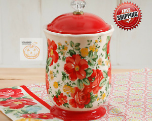 The Pioneer Woman Pioneer Vintage Floral 10-Inches Canister w/Acrylic Knob