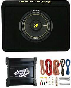 Kicker 10 600W Car Audio Subwoofer Enclosure and 1000W Amplifier w Wiring Kit $237.99