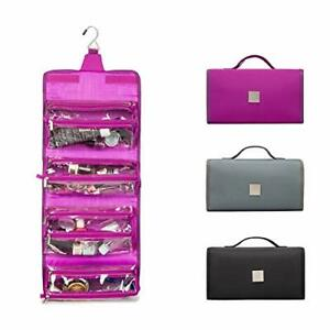 ROYALFAIR Hanging Toiletry Bag with Durable Hook Roll-Up Make Up Purple