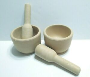 2 Mortar And Pestle Sets - Hard Plastic with Look Of Stone - Made In Jordan