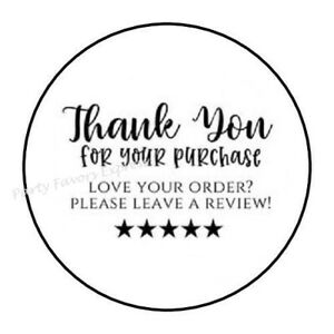 48 THANK YOU FOR YOUR PURCHASE REVIEW ENVELOPE SEALS LABELS STICKERS 1.2quot; ROUND