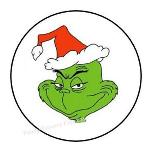 48 GRINCH CHRISTMAS ENVELOPE SEALS LABELS STICKERS 1.2quot; ROUND