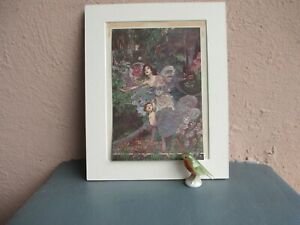 rare antique Charles Robinson lithograph  illustration of child and woman 1911