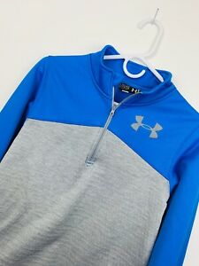 Youth Under Armour Colorblock Pullover Polyester Athletic Jacket Blue Gray XL $18.99