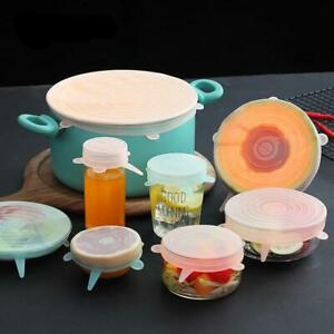 Worthbuy 6Pcs/Set Reusable Silicone Stretchable Food Cover Lids
