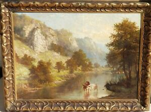 Antique Scottish Highlands River Cows Watering oil signed dated 1865 Mystery