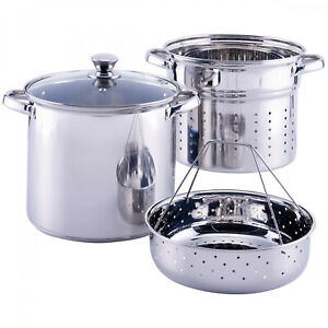 Pasta Cooker Steam Pot Stainless Steel Steamer 8 Qt Multi Cooker Spaghetti 4 Pcs