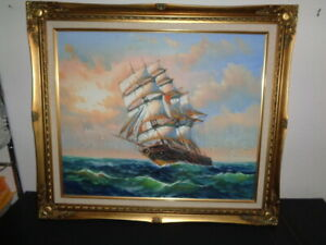 Vintage Ambrose Signed oil on Canvas of a Clipper Ship At Sea (20 by 24