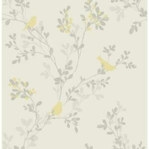 Wallpaper Designer Nadia Yellow Bird on Gray Branches and Leaves on Eggshell