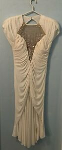 CASADEI Vintage 80#x27;s Ruched White Cocktail Dress with sequined inset size 6