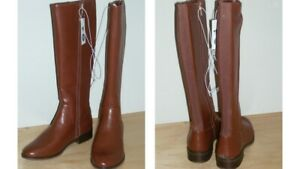 Women#x27;s Tall Cognac Zipper Side Boots Size 8.5 by A New Day Brand New with Tag