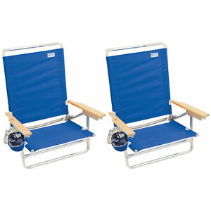 RIO Brands Classic 5 Position Lay Flat Folding Beach Lounge Chair, Blue (2 Pack)