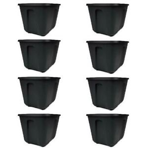 Set of 8 Storage Containers 18 Gallon Lid Snaps Durable Plastic Black Tote Box