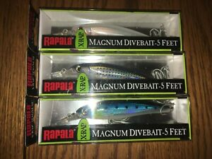 RAPALA X-RAP MAGNUM 05's----3 DIFFERENT COLORED FISHING LURES=DISCONTINUED