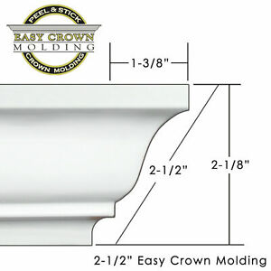 Peel amp; Stick Easy Crown Molding 16#x27; room Kit includes 4 inside corners. $29.99