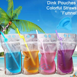 100PCS (Drink Pouches Bags + Straws )  Stand-Up Zipper for Cold