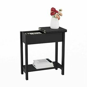 Table Flip Open Lid Hidden Storage Slim Hallway Entryway Elegant Storage