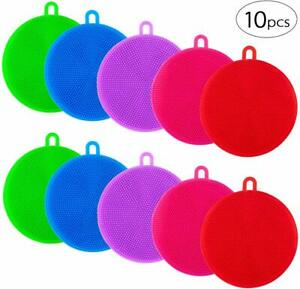 Apipi 10pcs Silicone Dish Sponges Silicone Dish Scrubber for Dishes Fruit