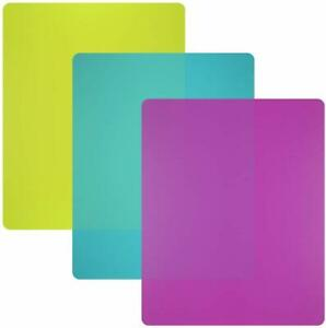 Flexible Plastic Cutting Board Mats set, Colorful Kitchen Cutting Board Set of 3