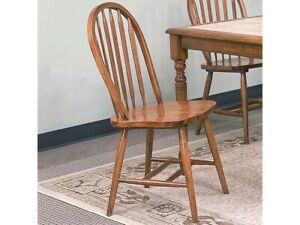 Traditional Dark Oak Arrow Back Windsor Solid Wooden Seat Side Chairs Set of 4