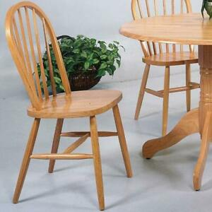 Traditional Light Oak Arrow Back Windsor Solid Wooden Seat Side Chairs Set of 4