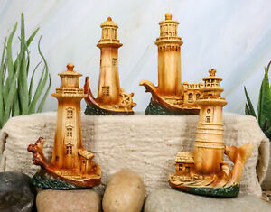 Nautical Marine Scenic Lighthouses By The Ocean Set Of 4 Miniature Figurines $20.99