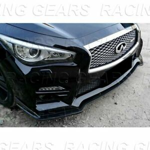 FIT 2014 2017 INFINITI Q50 3PCS PAINTED BLACK PREMIUM FRONT BODY KIT BUMPER LIP