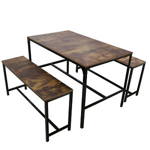 3 Piece Dining Table Set W/2 Bench Glass Metal Kitchen Room Breakfast Furniture