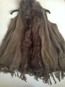 NEW with Tags Origami Vegan Fur Vest Fringe Tassels Mocha Women#x27;s One Size Soft