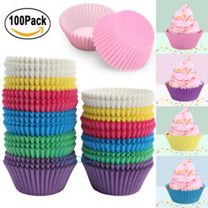 100 Colorful Cupcake Liners Muffin Case Cake Paper Baking Cups Reusable Nonstick