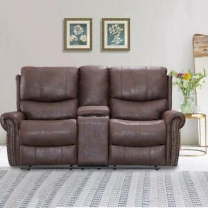 Recliner Sofa Love Seat Reclining Couch Leather Loveseat Home Theater Seating