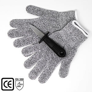 Oyster Shucking Knife + Level 5 Protection Cut Resistant Gloves 1Pair Gloves