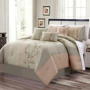 7 Piece Blush Taupe Embroidered Floral Cherry Blossom Striped Comforter Set
