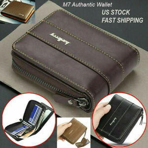 Men Men#x27;s Leather Wallet ID Credit Card Holder Clutch Bifold Pocket Zipper Coin