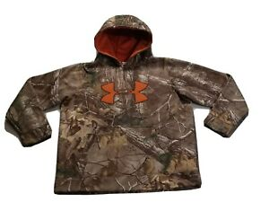 BOYS UNDER ARMOUR REAL TREE EXTRA CAMO HOODIE SIZE YOUTH LARGE LOOSE VGC $24.99