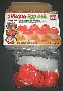 Silicone Egg Boil As Seen on TV-6 Egglettes Hard Boil, Soft Boil--New in Box