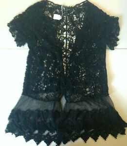 NEW Origami Vest Jacket Womens Size Small Medium Black Swirl Crochet Tulle Trim